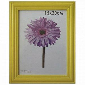 """Рамка премиум 15х20 см, дерево, багет 26 мм, """"Linda"""", желтая, подставка, 0065-6-0002"""