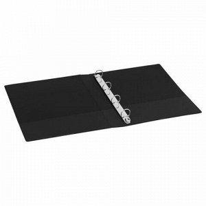 Папка на 4 кольцах BRAUBERG, картон/ПВХ, 40 мм, черная, до 250 листов (удвоенный срок службы), 228393