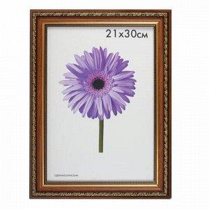 "Рамка премиум 21х30 см, пластик, багет 33 мм, ""Dorothy"", коричневая, 0023-8-1155"