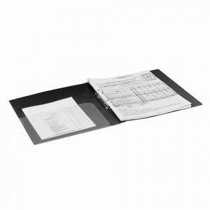 """Папка на 2 кольцах BRAUBERG """"Стандарт"""", 25 мм, черная, до 170 листов, 0,8 мм, 221616"""