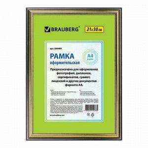 """Рамка 21х30 см, пластик, багет 20 мм, BRAUBERG """"HIT3"""", бронза с двойной позолотой, стекло, 390989"""