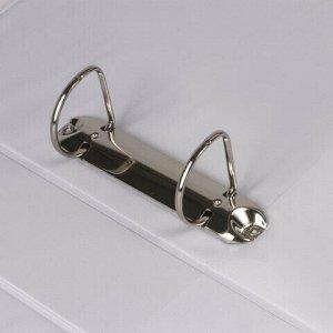 Папка на 2 кольцах с передним прозрачным карманом BRAUBERG, 65 мм, картон/ПВХ, белая, до 400 листов, 223528