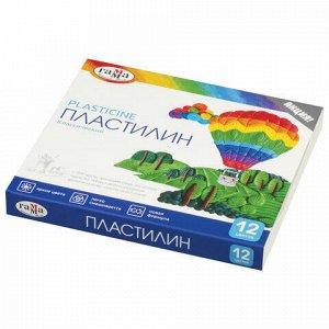 """Пластилин классический ГАММА """"Классический"""", 12 цветов, 240 г, со стеком, картонная упаковка, 281033"""