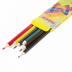 """Карандаши цветные ПИФАГОР """"Сказочный мир"""", 6 цветов, заточенные, картонная упаковка, дизайн ассорти, 180239"""