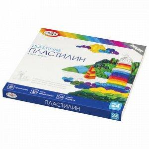 """Пластилин классический ГАММА """"Классический"""", 24 цвета, 480 г, со стеком, картонная упаковка, 281036"""