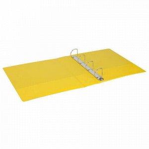 Папка на 4 кольцах с передним прозрачным карманом BRAUBERG, картон/ПВХ, 65 мм, желтая, до 400 листов, 223533