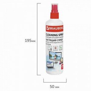 Чистящая жидкость-спрей BRAUBERG для LCD (ЖК)-мониторов, оптики и стекол, 250 мл, 510120