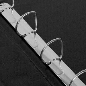 Папка на 4 кольцах с передним прозрачным карманом BRAUBERG, картон/ПВХ, 65 мм, черная, до 400 листов, 223534
