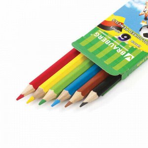 """Карандаши цветные BRAUBERG """"Football match"""", 6 цветов, заточенные, картонная упаковка, 180521"""