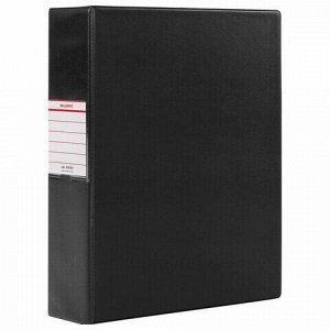 Папка на 2 кольцах BRAUBERG, картон/ПВХ, 75 мм, черная, до 500 листов (удвоенный срок службы), 228389