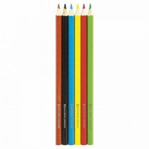"Карандаши цветные BRAUBERG ""Wonderful butterfly"", 6 цветов, заточенные, картонная упаковка с блестками, 180522"