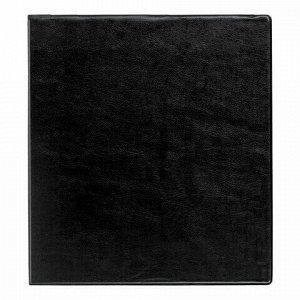 Папка на 4 кольцах с передним прозрачным карманом BRAUBERG, картон/ПВХ, 75 мм, черная, до 500 листов, 228398
