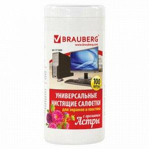"""Салфетки для экранов всех типов и пластика BRAUBERG с ароматом """"АСТРА"""", в тубе 100 шт., влажные, 511689"""