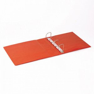 Папка на 4 кольцах с передним прозрачным карманом BRAUBERG, картон/ПВХ, 75 мм, красная, до 500 листов, 228399