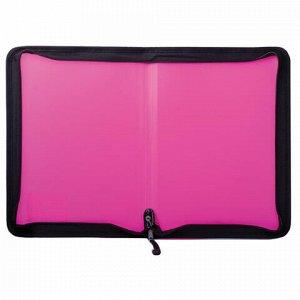 Папка на молнии пластиковая BRAUBERG, А4, 325х230 мм, 4 цвета ассорти, неоновая, 224054