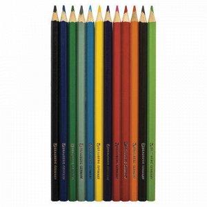 """Карандаши цветные BRAUBERG """"Star Patrol"""", 12 цв., заточенные, металлическая упаковка, 180543"""