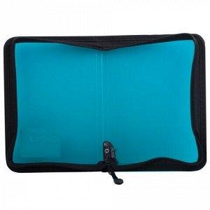 """Папка на молнии пластиковая BRAUBERG """"Income"""", А5, 235х165 мм, тонированная, 3 цвета ассорти, 224056"""