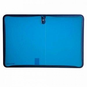 Папка на молнии пластиковая, А4, объемная, 335х240х20 мм, тонированная синяя, BRAUBERG, Россия, 226035