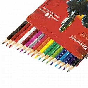 """Карандаши цветные BRAUBERG """"Star Patrol"""", 18 цветов, заточенные, картонная упаковка, 180547"""