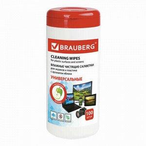 Салфетки для экранов всех типов и пластика BRAUBERG с ароматом ЯБЛОКО, туба 100 шт., влажные, 513286