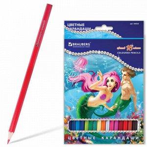 """Карандаши цветные BRAUBERG """"Морские легенды"""", 18 цв., заточенные, картонная упаковка с блестками, 180553"""