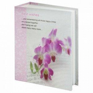 """Фотоальбом BRAUBERG на 100 фотографий 10х15 см, твердая обложка, """"Орхидеи"""", бело-розовый, 390663"""