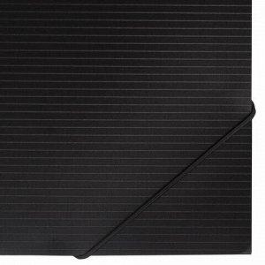 """Папка на резинках BRAUBERG """"Contract"""", черная, до 300 листов, 0,5 мм, бизнес-класс, 221796"""