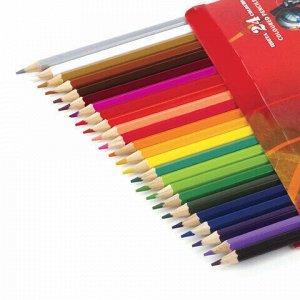 """Карандаши цветные BRAUBERG """"Star Patrol"""", 24 цвета, заточенные, картонная упаковка, 180558"""