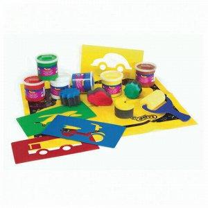 Краски пальчиковые JOVI (Испания), набор, 6 цветов по 125 мл, 9 предметов, клеенка, 566