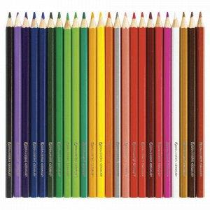 """Карандаши цветные BRAUBERG """"Морские легенды"""", 24 цвета, заточенные, картонная упаковка с блестками, 180561"""