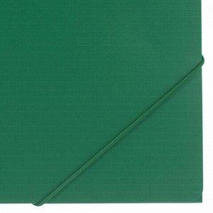 "Папка на резинках BRAUBERG ""Contract"", зеленая, до 300 листов, 0,5 мм, бизнес-класс, 221799"