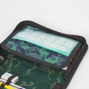 """Пенал BRAUBERG с наполнением, 1 отделение, откидная планка, 24 предмета, 21х14 см, """"Army"""", 229294"""