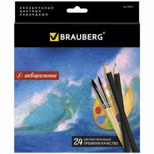 """Карандаши цветные акварельные BRAUBERG """"Artist line"""", 24 цвета, заточенные, высшее качество, 180570"""