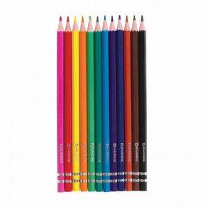 """Карандаши цветные BRAUBERG """"Pretty Girls"""", 12 цветов, пластиковые, заточенные, картонная упаковка, 180576"""