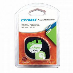 Картридж для принтеров этикеток DYMO Letra Tag, 12 мм х 4 м, лента бумажная, белая, S0721510