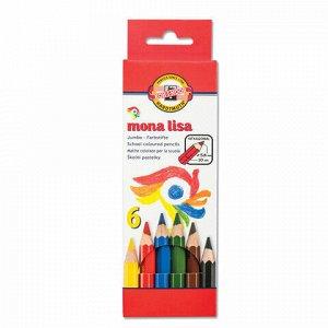 """Карандаши цветные утолщенные KOH-I-NOOR """"Mona Lisa"""", 6 цветов, 5,6 мм, заточенные, европодвес, 3371006007KS"""
