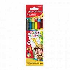 Карандаши цветные утолщенные BRAUBERG, 6 цветов, трехгранные, картонная упаковка, 180835