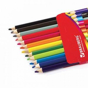 Карандаши цветные утолщенные BRAUBERG, 12 цветов, трехгранные, картонная упаковка, 180836
