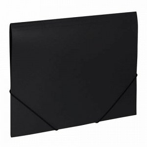 """Папка на резинках BRAUBERG """"Office"""", черная, до 300 листов, 500 мкм, 227713"""