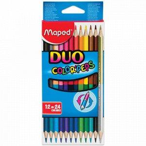 "Карандаши двусторонние MAPED (Франция) ""Color'Peps Duo"", 12 штук, 24 цвета, трехгранные, 829600"