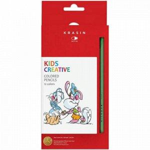 """Карандаши цветные КРАСИН """"Веселый кролик"""", 12 цв., заточенные, 177 мм, 12KW000101H"""