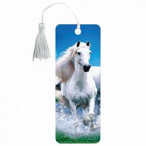 """Закладка для книг 3D, BRAUBERG, объемная, """"Белый конь"""", с декоративным шнурком-завязкой, 125753"""