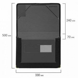 Папка на резинках BRAUBERG, широкая, А4, 330х240 мм, дымчатая, до 500 листов, 0,6 мм, 227979