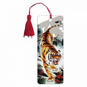 """Закладка для книг 3D, BRAUBERG, объемная, """"Бенгальский тигр"""", с декоративным шнурком-завязкой, 125755"""