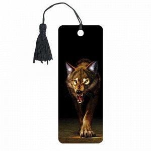 """Закладка для книг 3D, BRAUBERG, объемная, """"Волк"""", с декоративным шнурком-завязкой, 125756"""