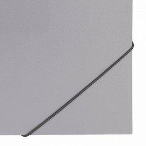 """Папка на резинках BRAUBERG """"Office"""", серая, до 300 листов, 500 мкм, 228079"""