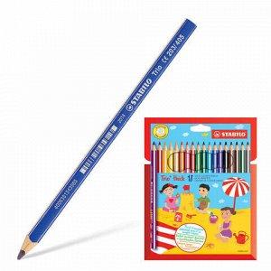 """Карандаши цветные утолщенные STABILO """"Trio"""", 18 цветов, грифель 4,2 мм, трехгранные, заточенные, 203/18"""
