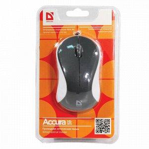 Мышь проводная DEFENDER Accura MS-970, 2 кнопки + 1 колесо-кнопка, оптическая, серо-белая, 52970
