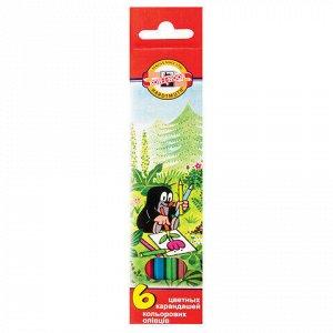 """Карандаши цветные KOH-I-NOOR """"Крот"""", 6 цветов, грифель 3,2 мм, заточенные, европодвес, 3651006026KSRV"""