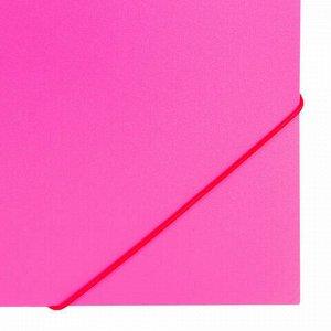 "Папка на резинках BRAUBERG ""Office"", розовая, до 300 листов, 500 мкм, 228083"